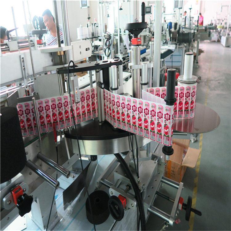 Applicatore di etichette adesive per la parte anteriore posteriore e avvolgente della bottiglia di etichette